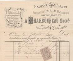 Facture Illustrée 28/12/1886 CHARBONNEAU Maison CHAUVENET Confiserie Patisserie Pain D'épices CHALON Sur Saône Et Loire - 1800 – 1899