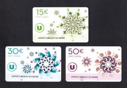 3  Carte Cadeau  SUPER U   MESLAY DU MAINE (53).    Gift Card. Geschenkkarte - Cartes Cadeaux