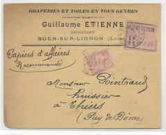 1903 - MOUCHON - SEUL Sur LETTRE RECOMMANDEE De BOEN SUR LIGNON (LOIRE) => THIERS - Marcophilie (Lettres)