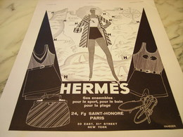 ANCIENNE PUBLICITE SPORT BAIN  MAISON HERMES 1930 - Habits & Linge D'époque