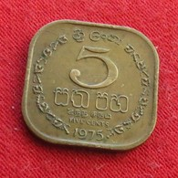 Sri Lanka Ceylon 5 Cents 1975 Wºº - Sri Lanka