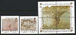Singapore 1989 Scott 545-547 MNH Old Maps, Map - Singapore (1959-...)