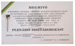 ~1925. Meghívó A Budapesti Jogászok Verbőczy Bajtársi Egyesület Szabolcs Törzsének Táncestélyére Az Egyesület Zománcozot - Coins & Banknotes