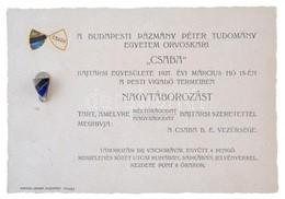 1927. A Budapesti Pázmány Péter Tudományegyetem Orvoskari Csaba Bajtársi Egyesületének Nagytáborozására Szóló Meghívó, H - Coins & Banknotes