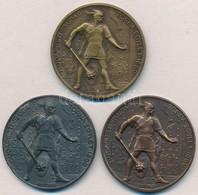 ~1930. 'Budapesti (Budai) Torna Egylet 1869 - Botond' (3x) Br, Cu és Zn Díjérmek, Egyik Hátoldala Gravírozva (40 és 40,5 - Coins & Banknotes