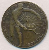 1939. 'Magyar Országos Lawn Tennis Szövetség 1907-1932' Br Díjérem, Hátoldalon Gravírozva (36mm) T:2 - Coins & Banknotes