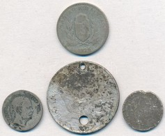 4db-os Vegyes Magyar és Külföldi Sérült Ezüstpénz Tétel T:3,3- Ly. - Coins & Banknotes