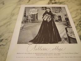 ANCIENNE AFFICHE  PUBLICITE MAGASIN LA GRANDE MAISON DE BLANC Avec Madame De Montferrand 1952 - Publicités
