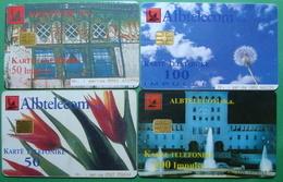 Albania Lot Of 4 CHIP PHONECARDS USED, Operator ALBTELECOM, 50, 100 Units, 1999, 2000, 2001 - Albania