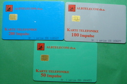 Albania Lot Of 3 CHIP PHONECARDS USED, Operator ALBTELECOM, 50, 100, 200 Units, 1999 - Albania