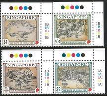 Singapore 1996 Scott 747-750 MNH Old Maps, Map - Singapour (1959-...)
