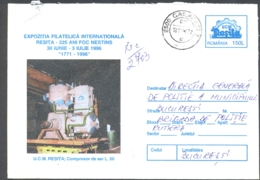 75299- AIR COMPRESSOR, RESITA STEEL FACTORY, INDUSTRY, REGISTERED COVER STATIONERY, 1996, ROMANIA - Usines & Industries