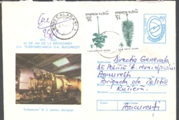 75300- HELICOPTER ENGINE, RESITA STEEL FACTORY, INDUSTRY, REGISTERED COVER STATIONERY, 1995, ROMANIA - Usines & Industries