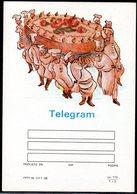 POLAND 1988 TELEGRAM SPECIAL OCCASION CHEFS CARRYING LARGE CAKE BIRTHDAY MINT UNUSED TÉLÉGRAMME TELEGRAMM TELEGRAMA - Celebrations