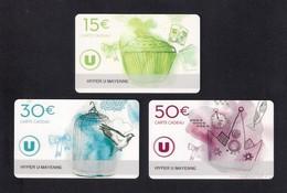 3  Carte Cadeau  HYPER U   MAYENNE (53).    Gift Card. Geschenkkarte - Gift Cards