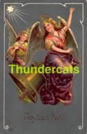 CPA LEGEREMENT EN RELIEF GAUFREE ANGE LIGHT EMBOSSED CARD CHRISTMAS ANGEL ( PLI - CREASE ) - Anges