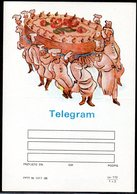 POLAND 1988 TELEGRAM SPECIAL OCCASION CHEFS CARRYING LARGE CAKE BIRTHDAY MINT UNUSED TÉLÉGRAMME TELEGRAMM TELEGRAMA - Faire-part