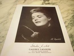 ANCIENNE PUBLICITE LA MAITRISE STUDIO D ART GALERIES LAFAYETTE 1951 - Publicités