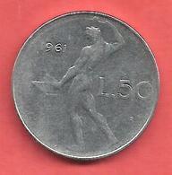 50 Lires , ITALIE , Acier Inoxidable , 1961 , N° KM # 95 - 1946-… : République