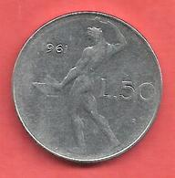 50 Lires , ITALIE , Acier Inoxidable , 1961 , N° KM # 95 - 1946-…: Republik