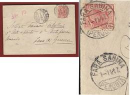 FARA SABINA PERUGIA 1/11/17  BUSTA  A FRANCESCO PAPALINI IN ZONA DI GUERRA - Storia Postale