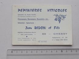 CHESSY (69): Publicité Ancienne Carte De Visite PEPINIERES VITICOLES Sélection Rigoureuse Champagne Bourgogne - BIDON - Publicités