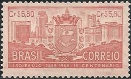 BRAZIL - 400th ANNIVERSARY OF SÃO PAULO, ARMS (SALMON) 1954 - MNH - Brazil