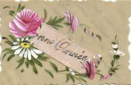 Carte Mica Peinte à La Main + Ajouti Rubanrose  Bonne Année RV - Fancy Cards