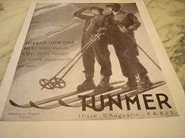 ANCIENNE PUBLICITE MAGASIN TUNMER PARIS SKI 1930 - Publicités