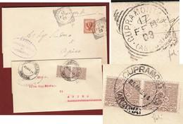 CUPRAMONTANA (ANCONA) Annullo Tondoriquadrato(1903) + GULLER D.c. Grande (1914) SU DUE PIEGHI DIVERSI PER APIRO - Storia Postale