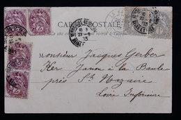 FRANCE - Affranchissement Au Type Blanc De Versailles Sur Carte Postale En 1903 - L 21311 - Marcophilie (Lettres)