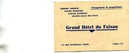 Carte Publicité Grand Hôtel Du Faisan 17 Rue Nationale Tours Changement De Propriétaire - Publicités