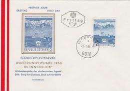 WINTERUNIVERSIADE WINTER UNIVERSITY GAMES INNSBRUCK AUSTRIA 1968 FDC Stadium ALPS Mountains Sport - Stamps