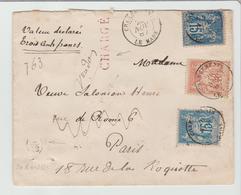 """SARTHE: """" LE MANS CHARGEMENT """" CàD Type 15 / LSC CHARGEE De 1887 Pour Paris TB - Marcophilie (Lettres)"""