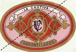 1893-1894 étiquette Boite à Cigare Havane LA CAUTIVA - Etiquettes