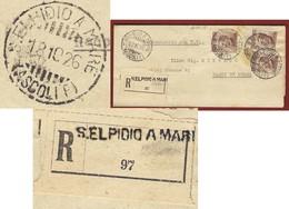 S.ELPIDIO A MARE Annullo Lineare + S.elpidio A Mare (ascoli P)  SU RACCOMANDATA PER BAGNI DI LUCCA IN DATA 18/10/26 - Storia Postale