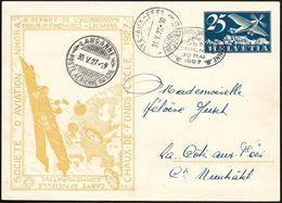 """Schweiz Suisse 1927: CP ENTIER 25c Avion Bleu Bild-PK """"NHORA"""" Vol LA-CHAUX-DE-FONDS > LOCLE > LAUSANNE 30 MAI 1927 - Poste Aérienne"""