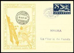 """Schweiz Suisse 1927: CP ENTIER 25c Avion Bleu Bild-PK """"NHORA"""" Vol LA-CHAUX-DE-FONDS > LOCLE > LAUSANNE 30 MAI 1927 - Clocks"""