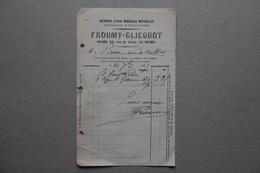 Facture Froumy-Clicquot, Entrepot D'Eaux Minérales Naturellles Française Et étrangères à Reims (Marne), 1897 - Alimentaire