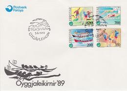 SPORT  - FAROE FÄRÖER 1989 MI 186 - 189 FDC Swimming Soccer Handball Football - Swimming