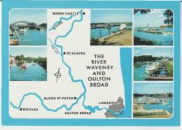 Postcard - Map - The River Waveney And Oulton Broad With Ills - Unused Very Good - Ansichtskarten