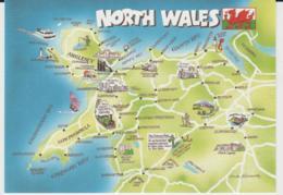 Postcard - Map - North  Wales With Ills - Unused Very Good - Ansichtskarten