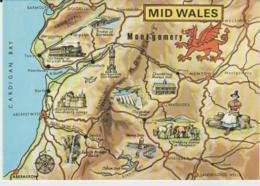 Postcard - Map - Mid Wales With Ills - Unused Very Good - Ansichtskarten