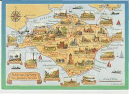 Postcard - Map - Isle Of Wight, Illustrated, - Posted 1993 - Ansichtskarten