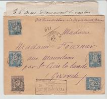 """CHARENTE Mme: """" St JEAN D'ANGELY """" CàD 18 / LAC CHARGEE De 1890 Pour St Ciers La Lande TB - Marcophilie (Lettres)"""