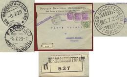 BORGOSASSOFERRATO Lineare + BORGO SASSOFERRATO (ANCONA) 5/7/29 SU RACC. SOC.BANCARIA MARCHIGIANA PER BELLISTO SOLFARE - Storia Postale