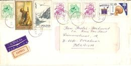 Pologne 1976 - Lettre EXPRES PA De Krakow à Vorselaar, Belgique - Affranchissement Composé - YT 2136/2141/2271/2275/PA55 - 1944-.... Republic