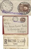 ANCONA CENTRO Lineare + ANCONA ACCET.RACC. ASS. 1/4/29  RACCOMANDATA PER BOLOGNA - Storia Postale