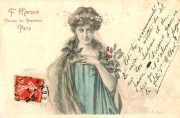 Cpa Femme Et Houx, Par R. AVER, Publicité F. MARQUIS Passage Des Panoramas Paris - Illustrateurs & Photographes