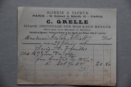 Facture C.Grelle, Scierie à Vapeur, Sciage Sur Bois Et Sur Métaux, à Paris 1896 - France